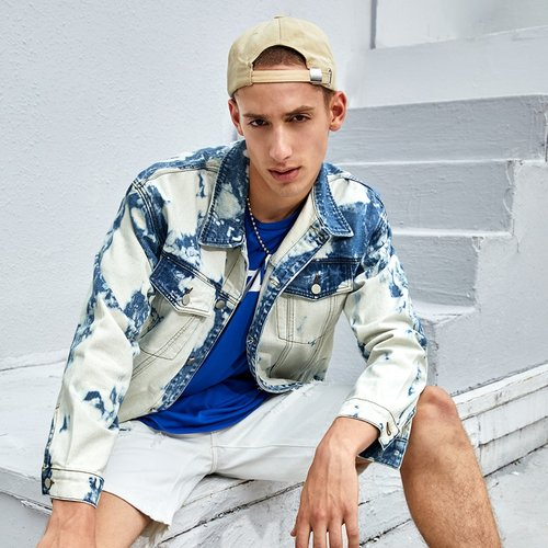 Homme Veste en jean lavage à poche - SHEIN - Modalova