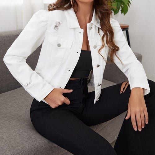 Veste en jean déchirée - SHEIN - Modalova