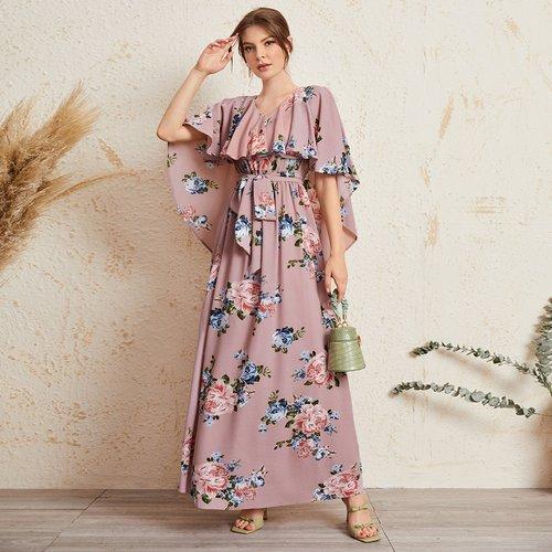 Robe cape fleurie ceinturée - SHEIN - Modalova