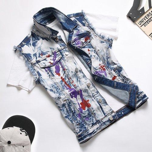 Pièce Veste en jean ourlet effiloché graphique - SHEIN - Modalova