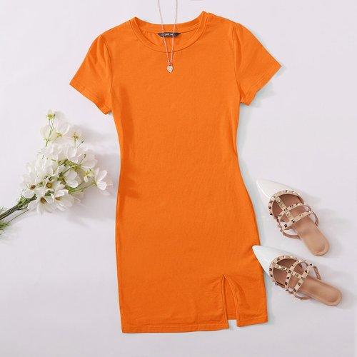 Robe t-shirt fendue fluo - SHEIN - Modalova