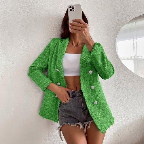 Blazer en tweed avec boutons - SHEIN - Modalova