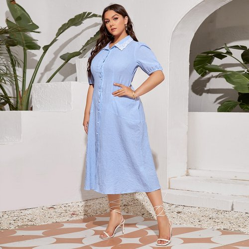 Robe chemise avec dentelle - SHEIN - Modalova