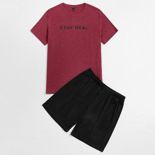 Ensemble de pyjama t-shirt à motif slogan & short - SHEIN - Modalova