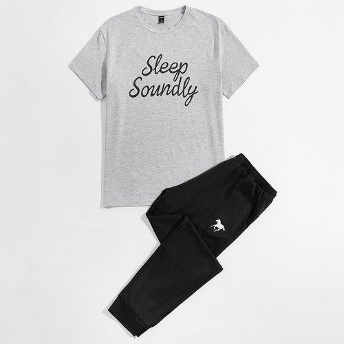 Lettre T-shirt et Pantalon de jogging Ensemble de pyjama - SHEIN - Modalova