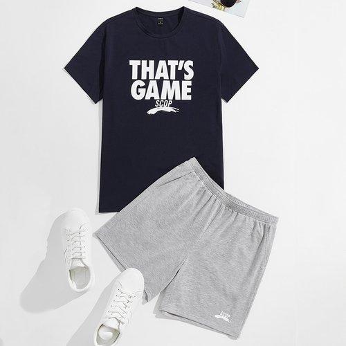 Slogan T-shirt et Short Ensemble de pyjama - SHEIN - Modalova