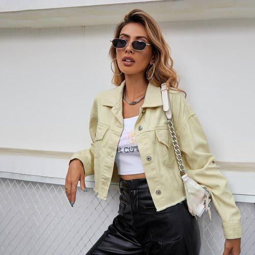 Veste en jean effilochée - SHEIN - Modalova