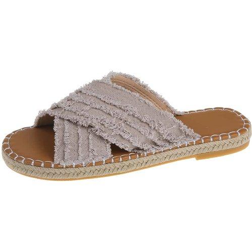 Pantoufles espadrilles avec bandes croisées - SHEIN - Modalova