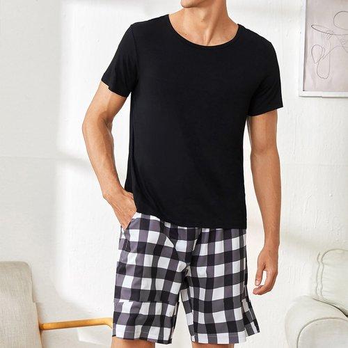 T-shirt de pyjama unicolore - SHEIN - Modalova
