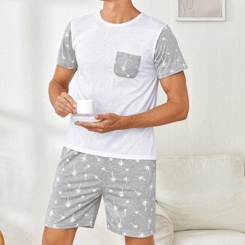 Palmier T-shirt avec Short Ensemble de pyjama - SHEIN - Modalova