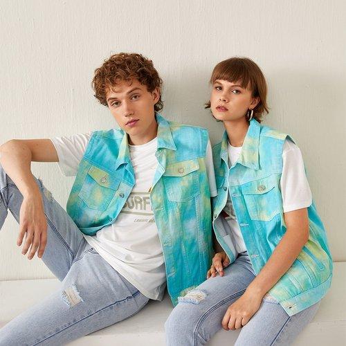 Pièce Veste en jean tie dye poche à rabat - SHEIN - Modalova