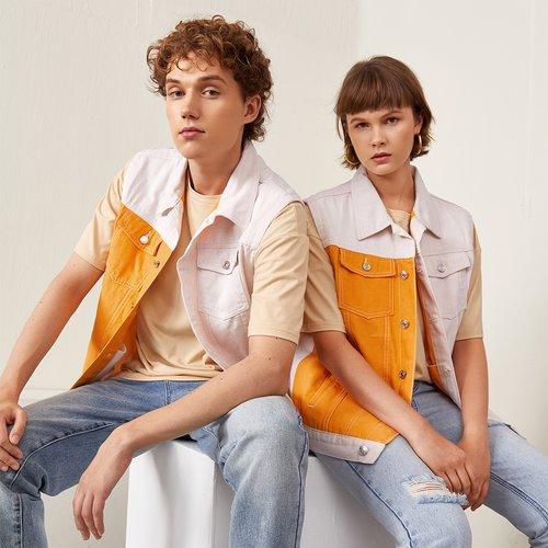 Pièce Veste en jean à blocs de couleurs poche à rabat - SHEIN - Modalova