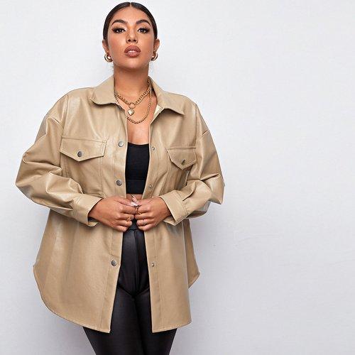 Manteau en cuir PU avec poches - SHEIN - Modalova