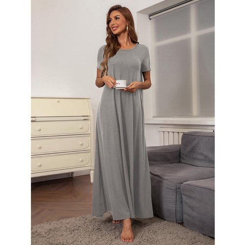 Robe t-shirt longue unicolore - SHEIN - Modalova