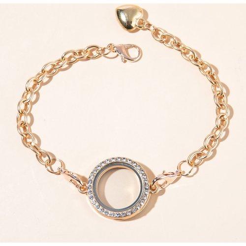 Bracelet médaillon ouvert à strass - SHEIN - Modalova