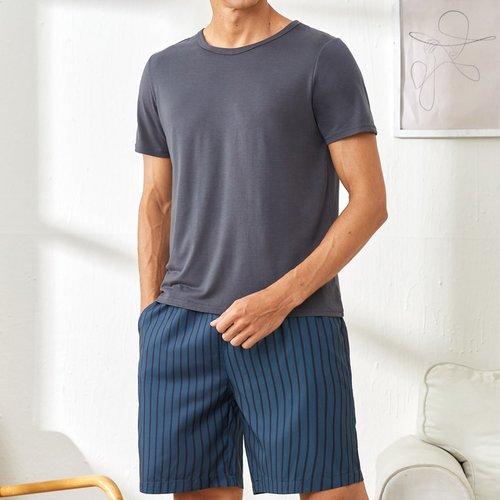 T-shirt avec à rayures Short Ensemble de pyjama - SHEIN - Modalova