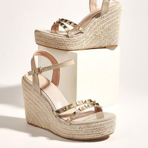 Sandales compensées espadrilles cloutées - SHEIN - Modalova