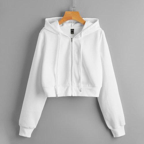Sweat-shirt court zippé à capuche - SHEIN - Modalova