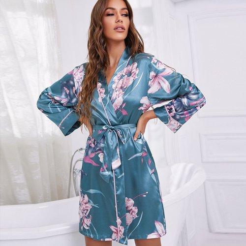 Robe de chambre de nuit ceinturée fleurie - SHEIN - Modalova