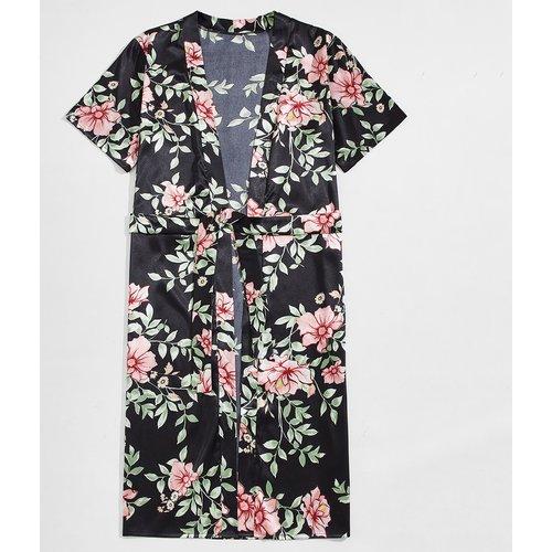 Robe de chambre ceinturée à imprimé floral - SHEIN - Modalova