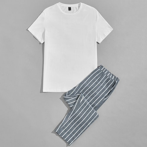 T-shirt & à rayures Pantalon Ensemble de pyjama - SHEIN - Modalova