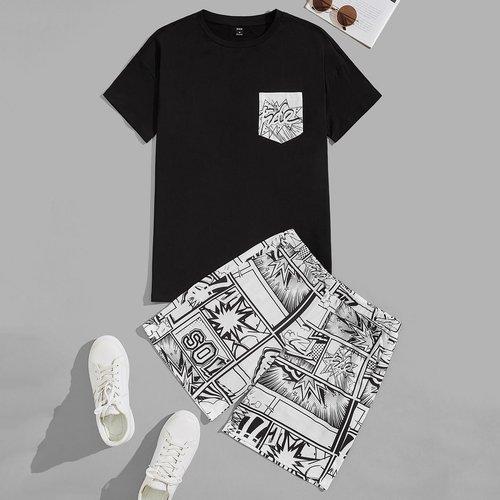 À imprimé comics T-shirt & Short Ensemble de pyjama - SHEIN - Modalova