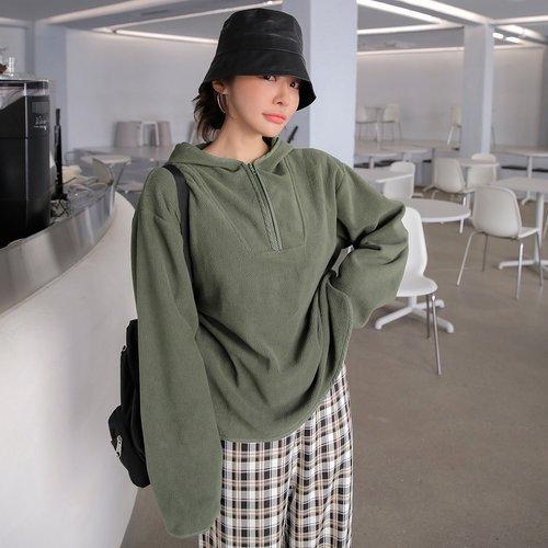 Sweat-shirt à capuche zippé oversize - SHEIN - Modalova