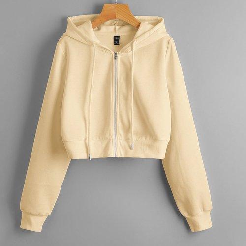 Sweat-shirt à capuche court zippé - SHEIN - Modalova