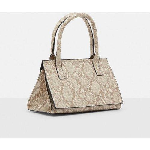 HALF PRICE! Cream Snake Print Top Handle Bag, Cream