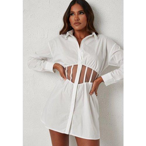 Robe courte blanche à empiècement en tulle style corset Dani Michelle x  - Missguided - Modalova