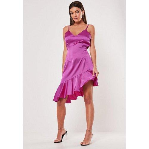 Robe caraco violette asymétrique avec ourlet volanté - Missguided - Modalova