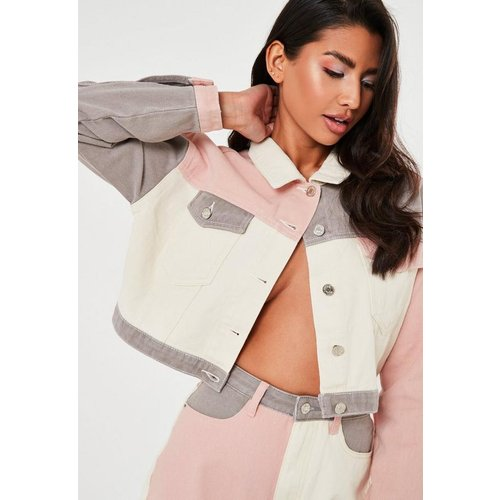 Veste en jean blanche courte à colour block - Missguided - Modalova