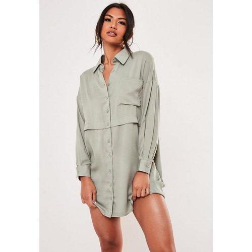 Robe chemise militaire verte, Vert - Missguided - Modalova