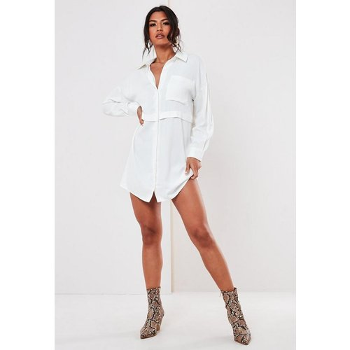 Robe chemise blanche style militaire - Missguided - Modalova