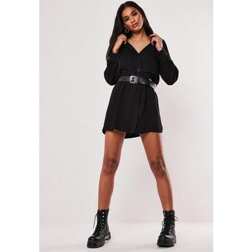 Robe chemise militaire noire, Noir - Missguided - Modalova