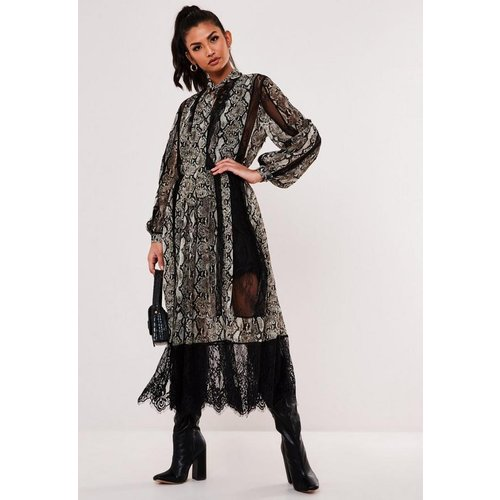 Robe blouse imprimé animal bordure en dentelle - Missguided - Modalova