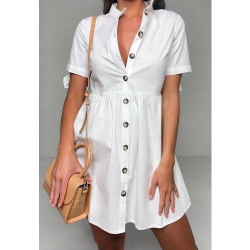 Robe chemise blanche en popeline nouée aux manches - Missguided - Modalova