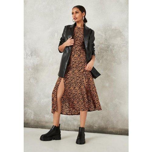Robe mi-longue gris fumé à imprimé léopard à manche évasée - Missguided - Modalova