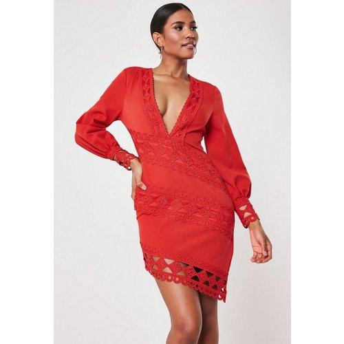 Robe courte plongeante en crochet et dentelle - Missguided - Modalova