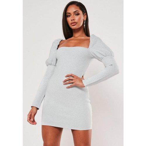 Robe courte métallique à encolure carrée premium - Missguided - Modalova