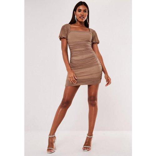 Taupe Mesh Puff Sleeve Milkmaid Mini Dress, Stone