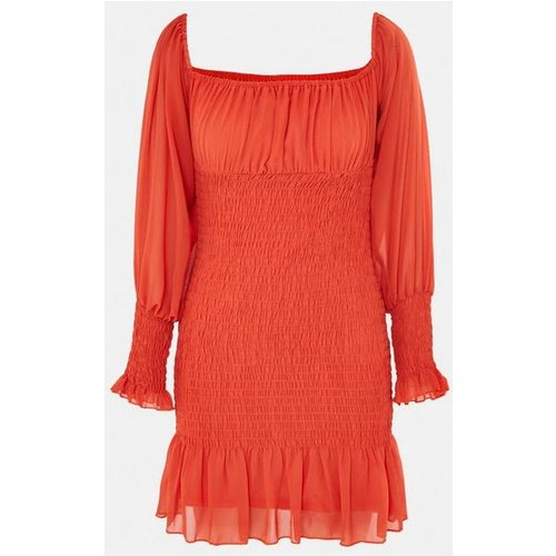 Robe courte orange plissée style bardot - Missguided - Modalova