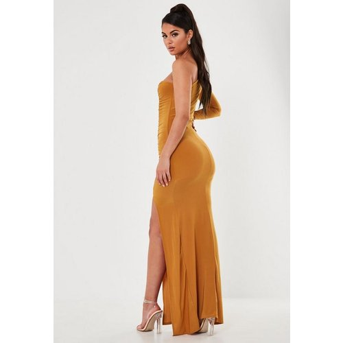 Orange Slinky One Sleeve Ruched Maxi Dress, Orange