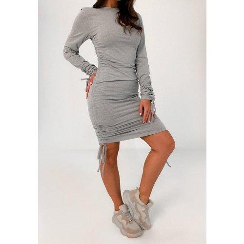 Robe courte à manches longues froncée en jersey - Missguided - Modalova