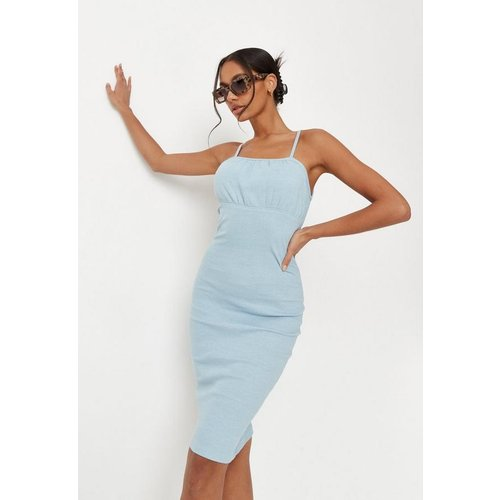 Blue Rib Ruched Bust Strappy Midaxi Dress, Blue