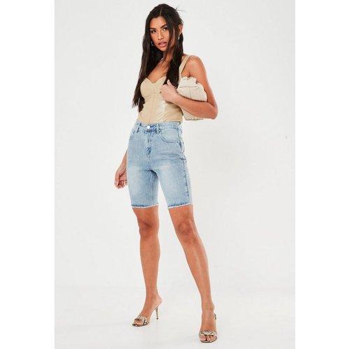 Short en jean bleu long, Bleu - Missguided - Modalova