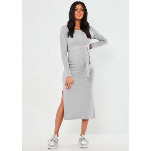 Robe mi-longue fendue avec ceinture Maternité - Missguided - Modalova