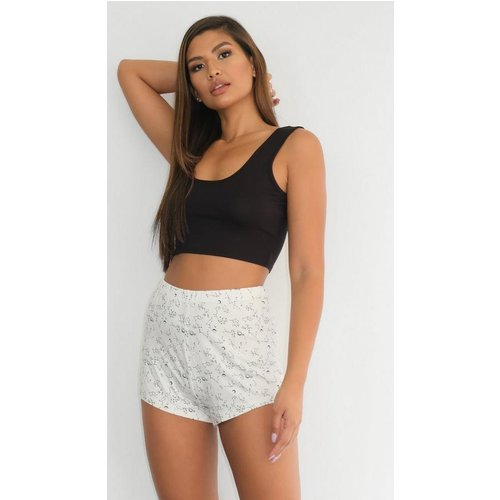 HALF PRICE! Black Astrology Print Crop Top And Shorts Pyjama Set, Black