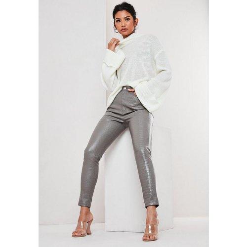 Pantalon croco en simili cuir - Missguided - Modalova