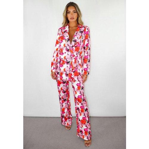 Pantalon droit à fleurs nervuré - Missguided - Modalova